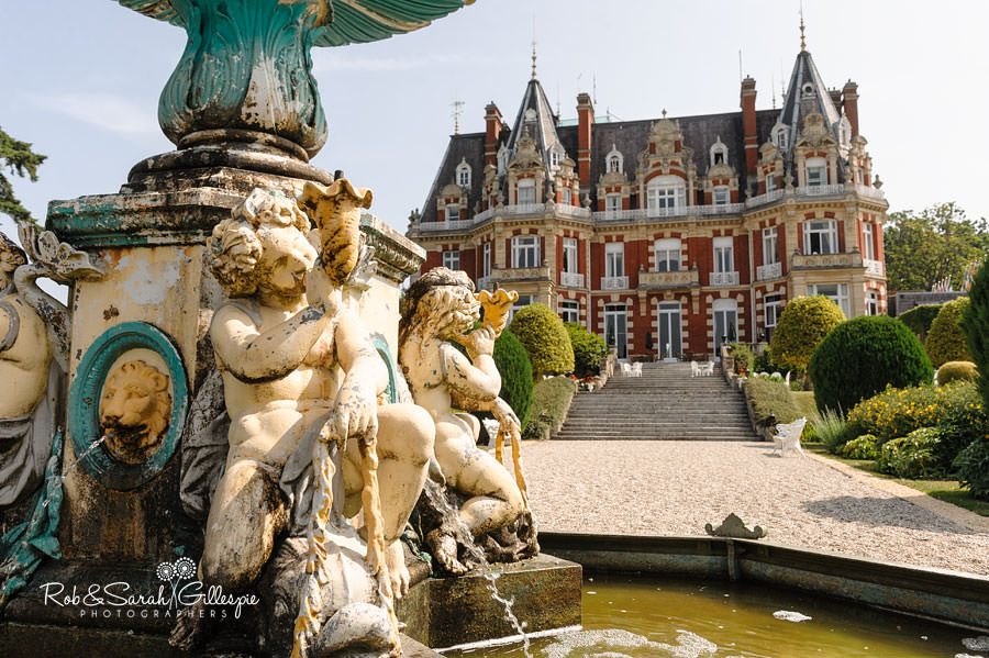 chateau impney with fountain in foreground