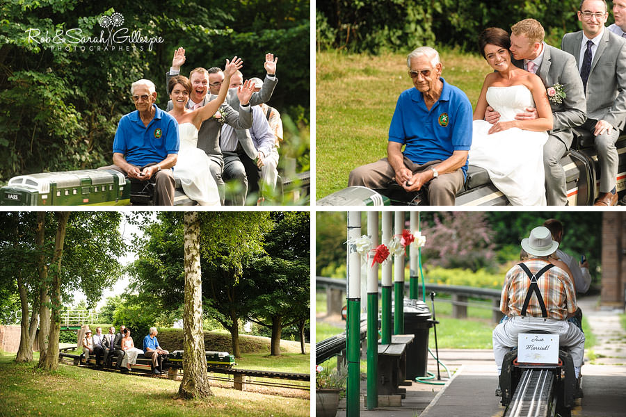 wedding guests on miniature train at avoncroft musem