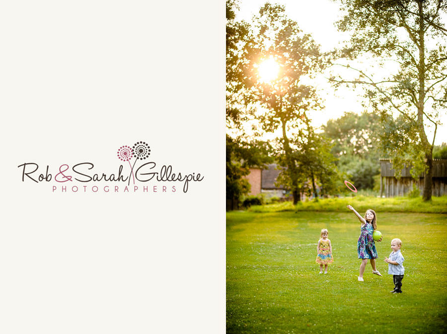 kids play in evening light at wedding reception