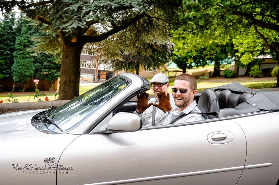 groom arriving in jaguar