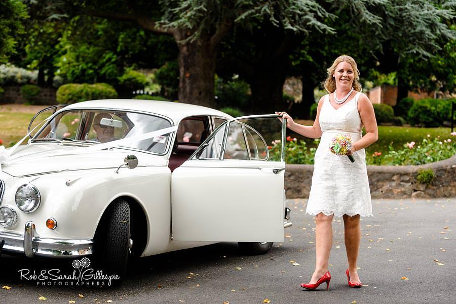 bride with jaguar at malvern college