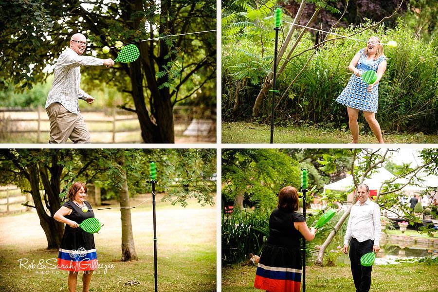 wedding guests having fun at garden reception