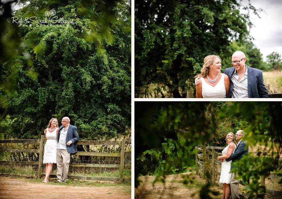 bride and groom relaxing at wedding reception in garden
