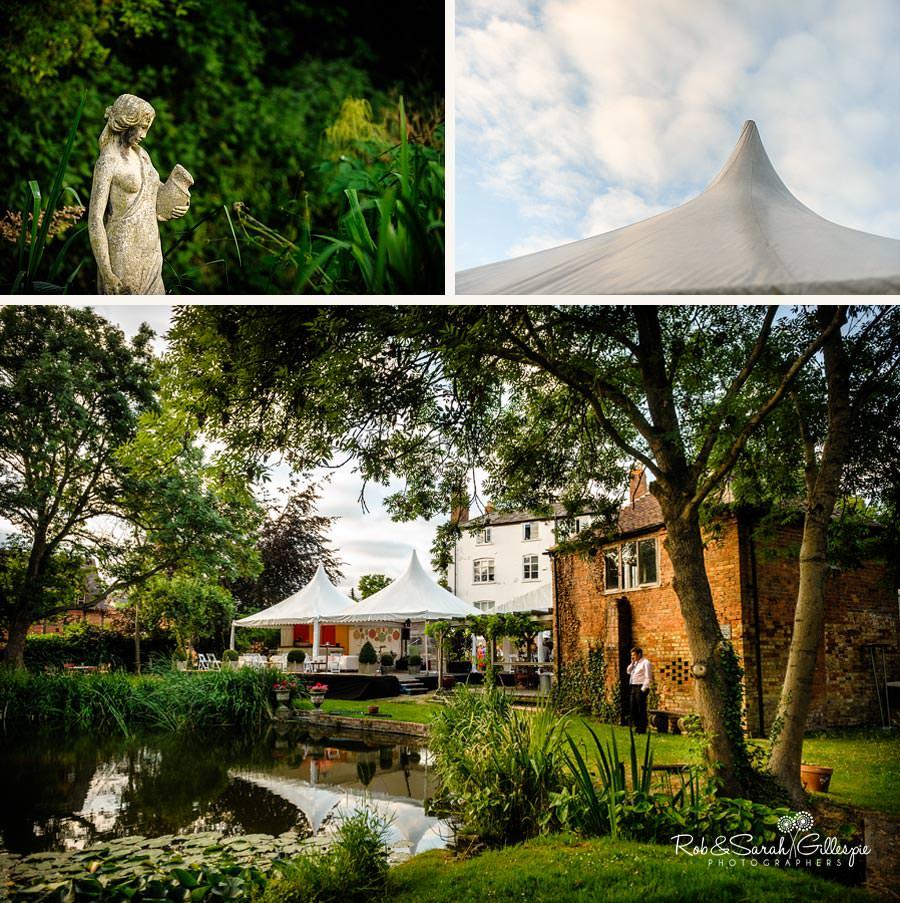 wedding reception in garden during summer evening