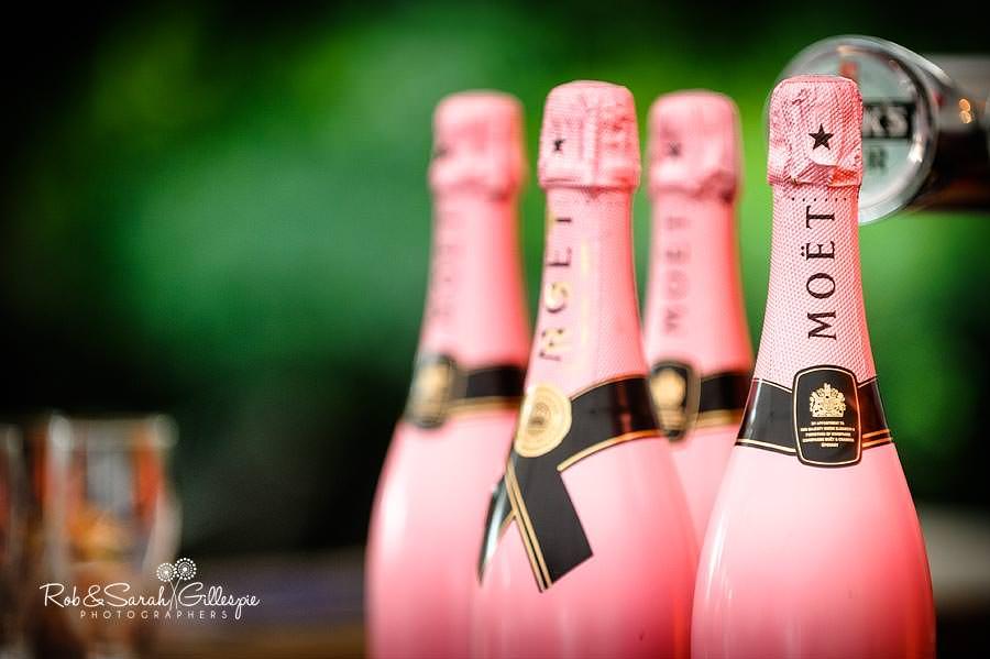 bottles of Moet champagne at wedding reception