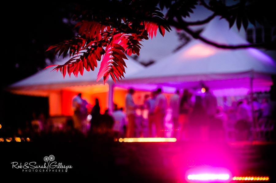 evening light at garden wedding reception