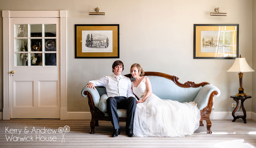 bride and groom in warwick house, southam, warwickshire