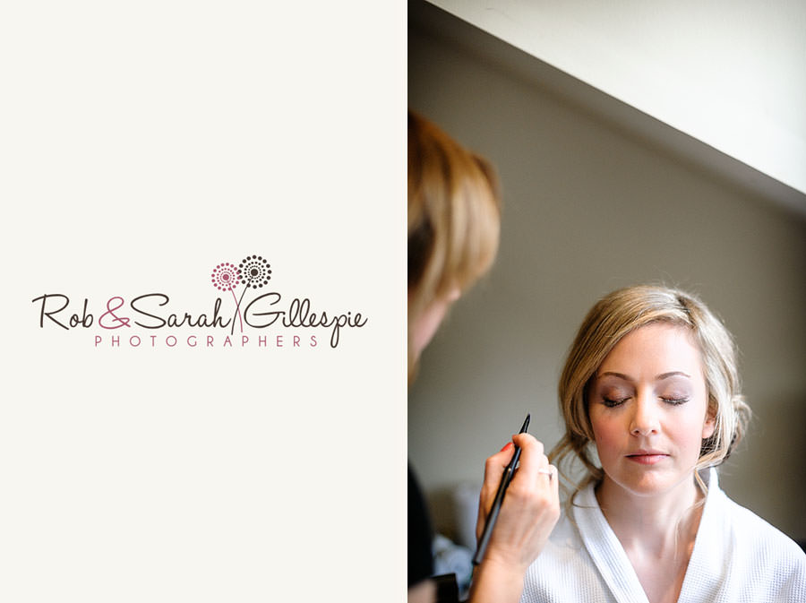 bride with eyes closed having makeup applied