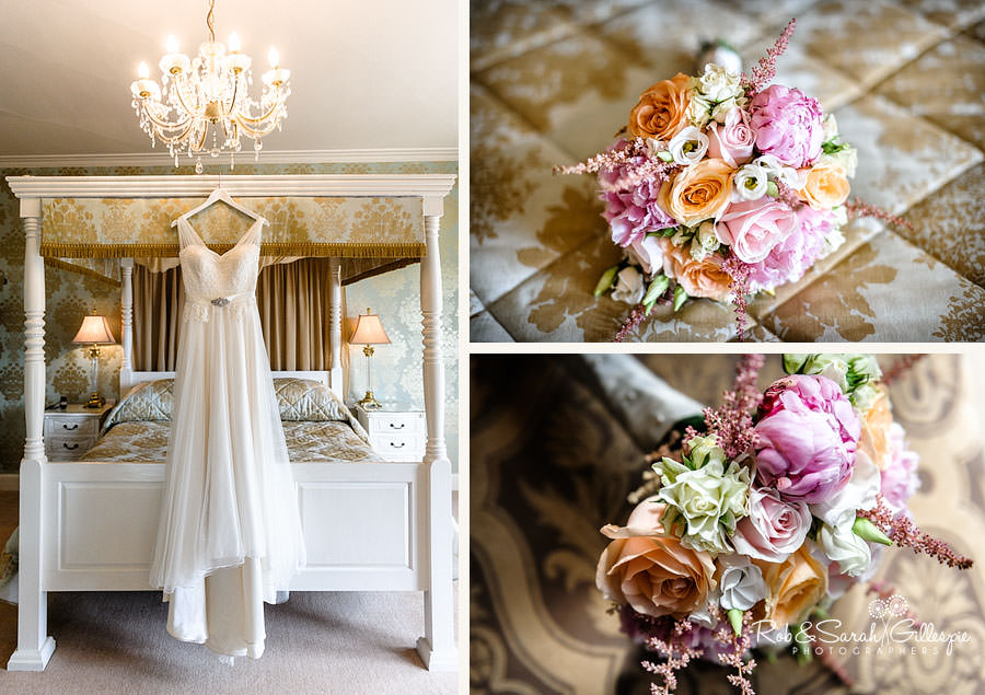 wedding dress and bridal flowers