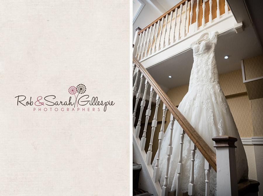 wedding dress hanging on stairway