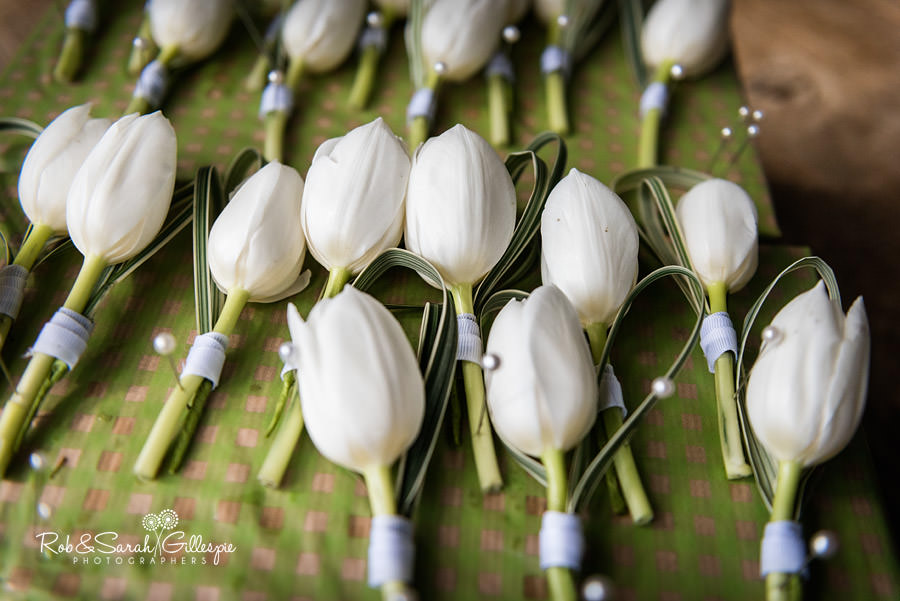 White button-hole wedding flowers