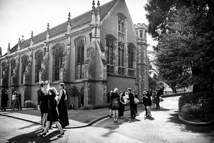 Wedding guests arrive at Malvern College Chapel