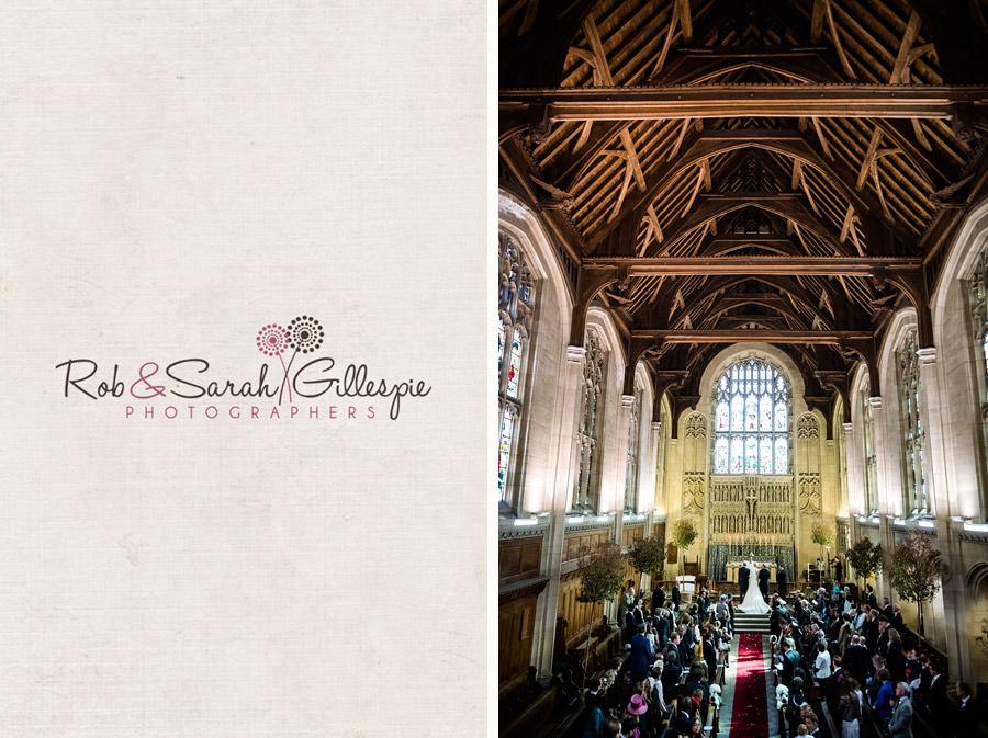 Interior of Malvern College Chapel during wedding service