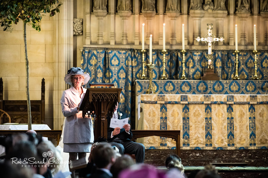 Bride's mother delivers reading during wedding in Malvern College Chapel