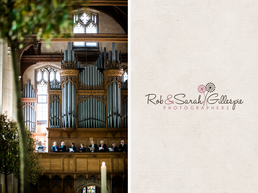 Wedding choir and organ pipes inside Malvern College chapel
