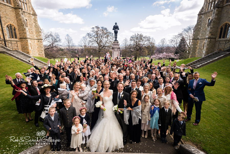 Wide angle image of 200 guests at wedding at Malvern College