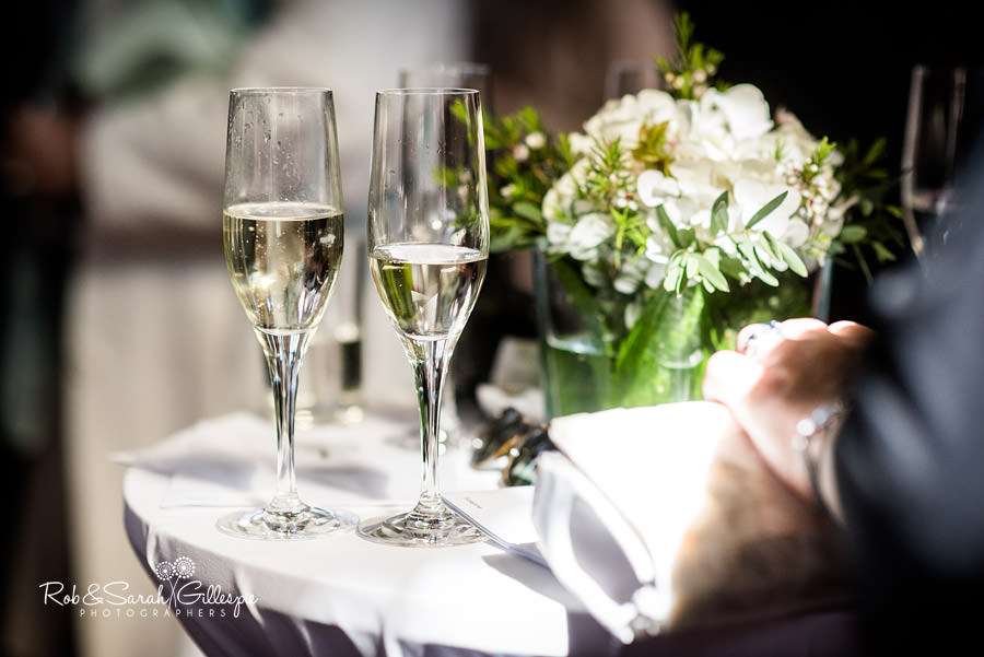 Detail image of champagne glasses at wedding
