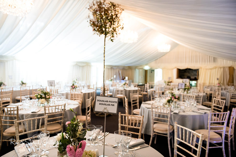 Interior of Gryphon Room at Malvern College with marquee drapes and decoration