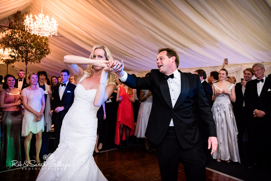 Bride and groom first dance in gryphon Room at Malvern College