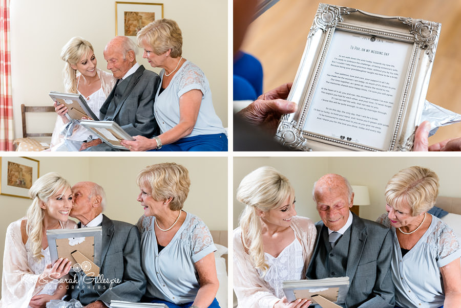 Bride giving mother and grandfather present at Delubury Hall