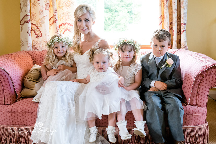 Bride, flower girls and pageboy at Delbury Hall