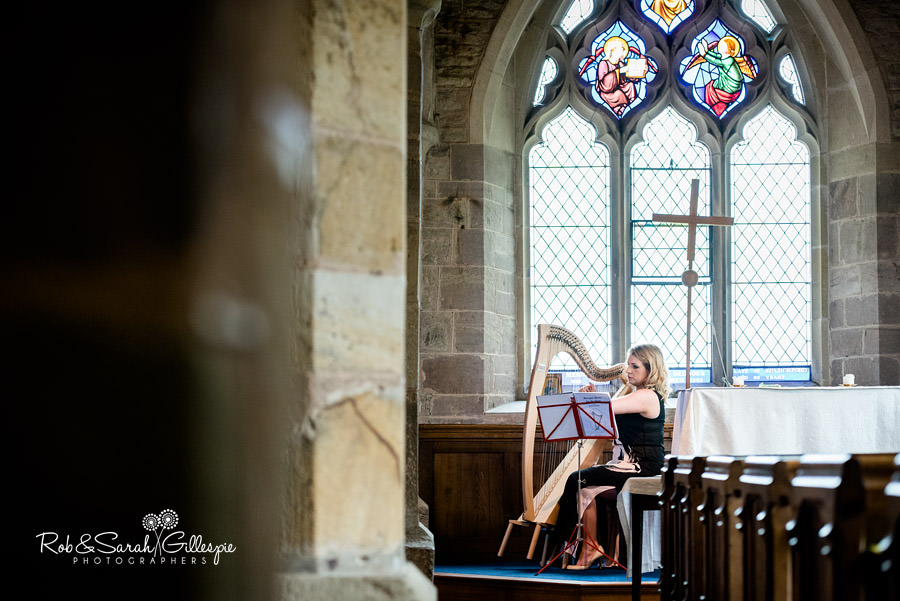Harpist plays at wedding in St Peters Diddlebury