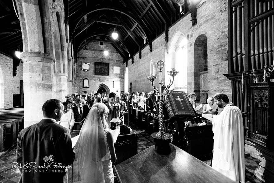 Church wedding service at St Peters in Diddlebury Shropshire