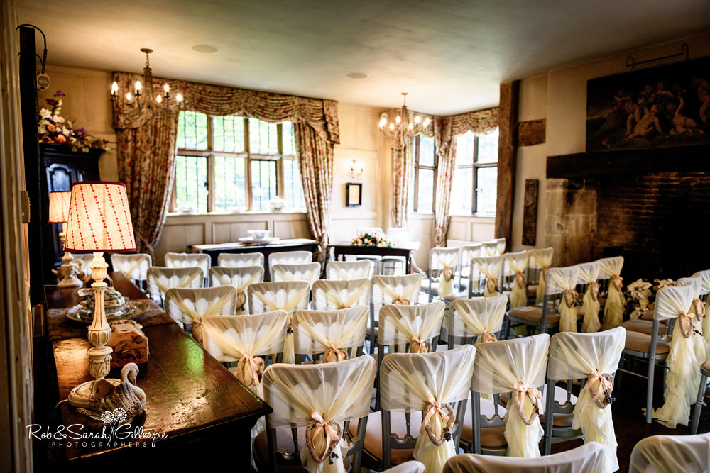 Interior of Gorcott Hall, all ready for wedding ceremony