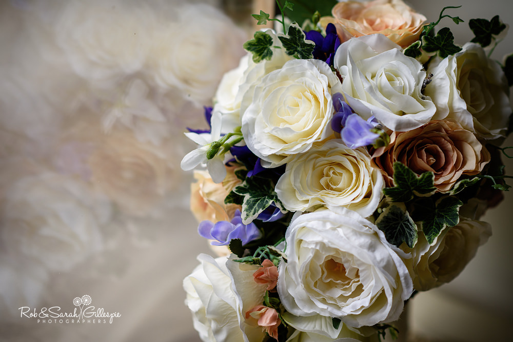 Bridal flowers at Gorcott Hall wedding