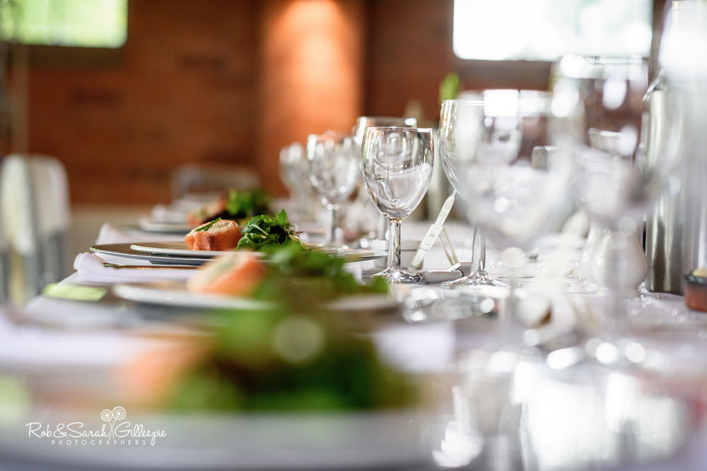 Details for wedding breakfast at Gorcott Hall