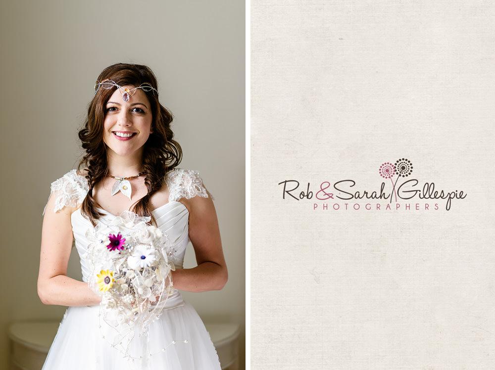 Portrait of bride with dark hair and ornate bouquet in beautiful window light at the Matara Centre
