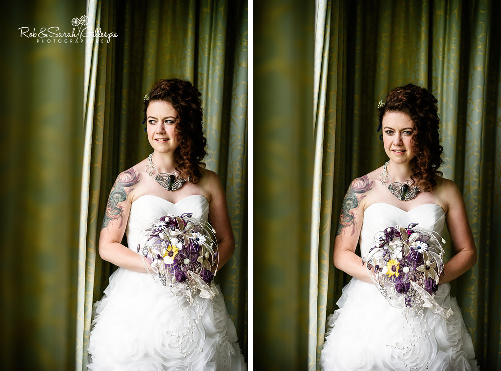 Portraits of bride with dark hair and ornate bouquet in beautiful window light at the Matara Centre