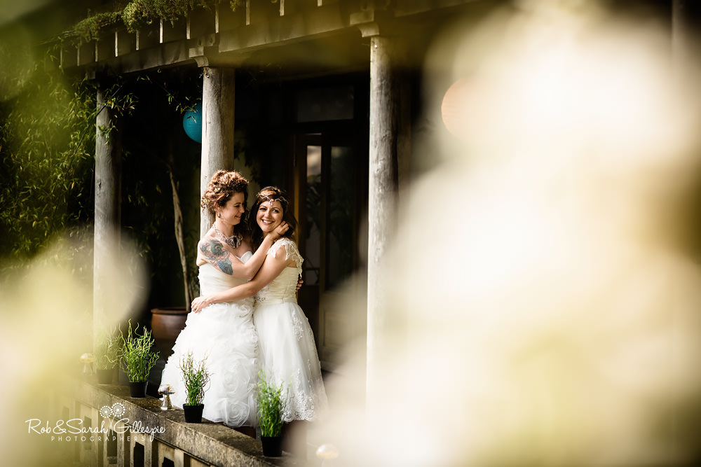 Two brides together at Matara Centre same-sex wedding