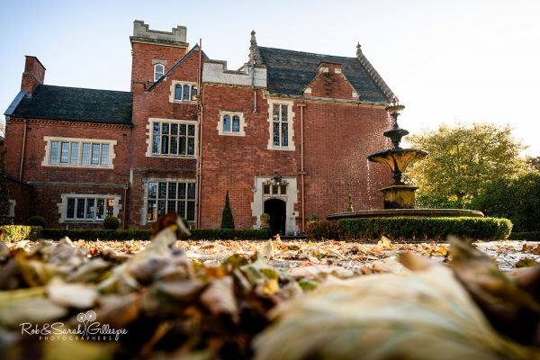 View of Pendrell Hall with autumn leaves