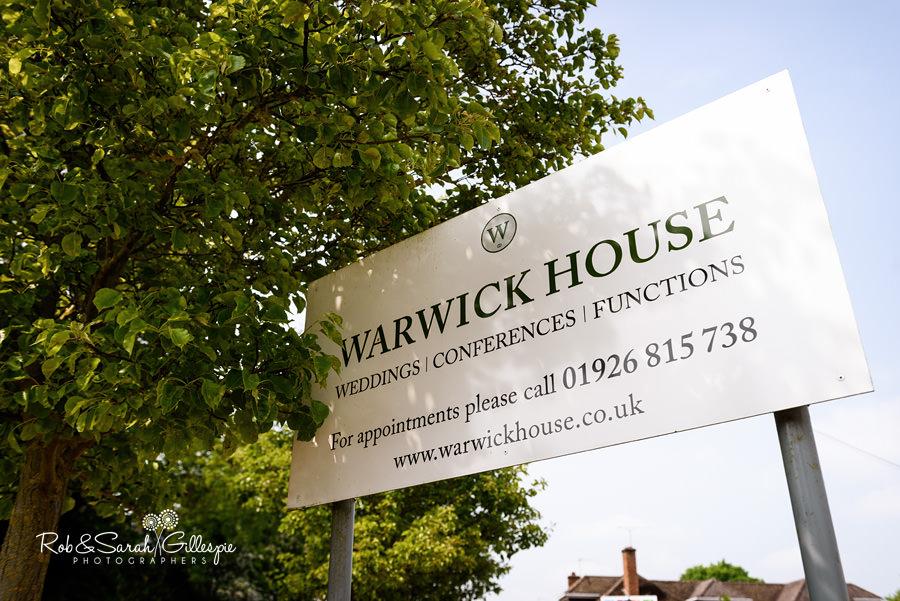 Warwick House wedding venue sign