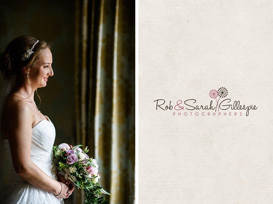 Portrait of bride in beautiful window light at Warwick House
