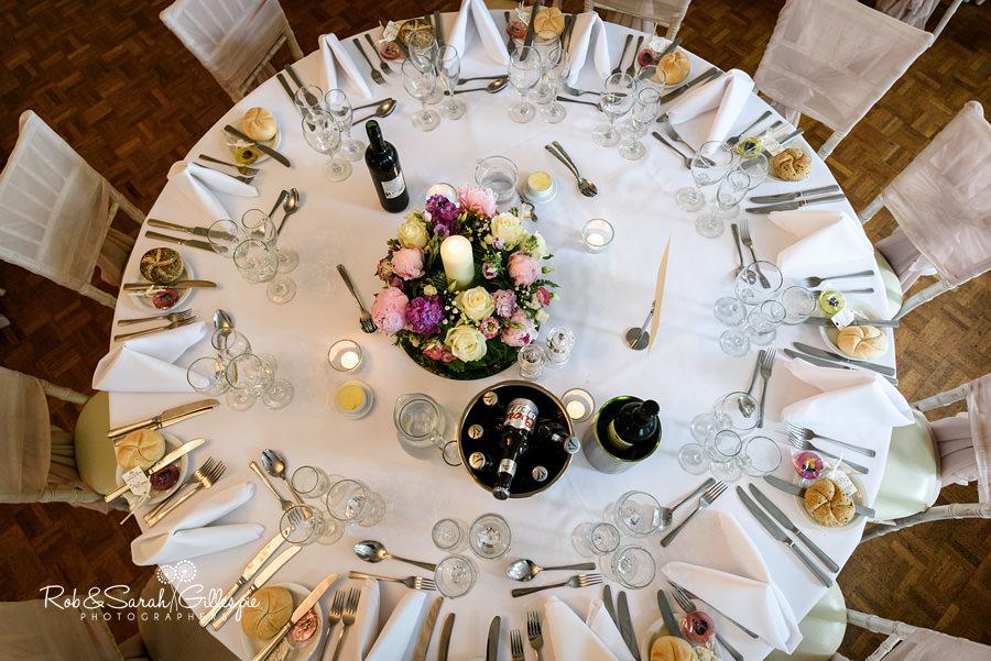Wedding breakfast details at Warwick House