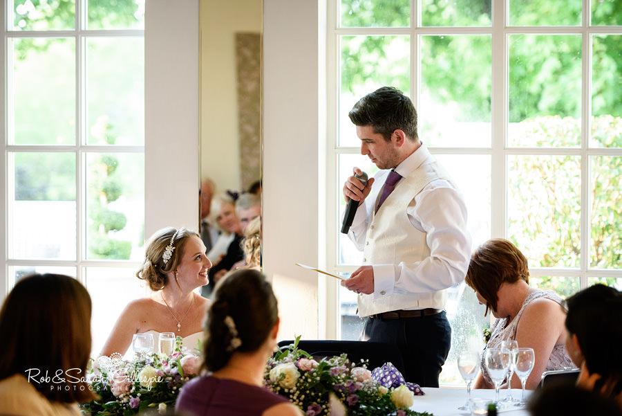 Wedding speeches at Warwick House