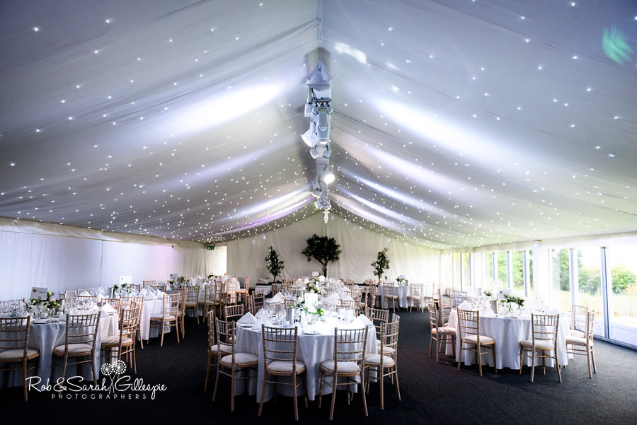 Marquee set up for wedding meal at Alrewas Hayes