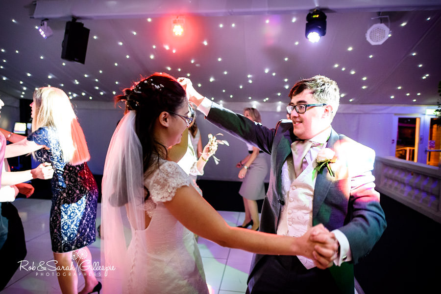 Bride and groom on dance floor at Alrewas Hayes