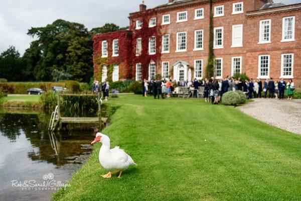 Wedding reception drinks at Delbury Hall