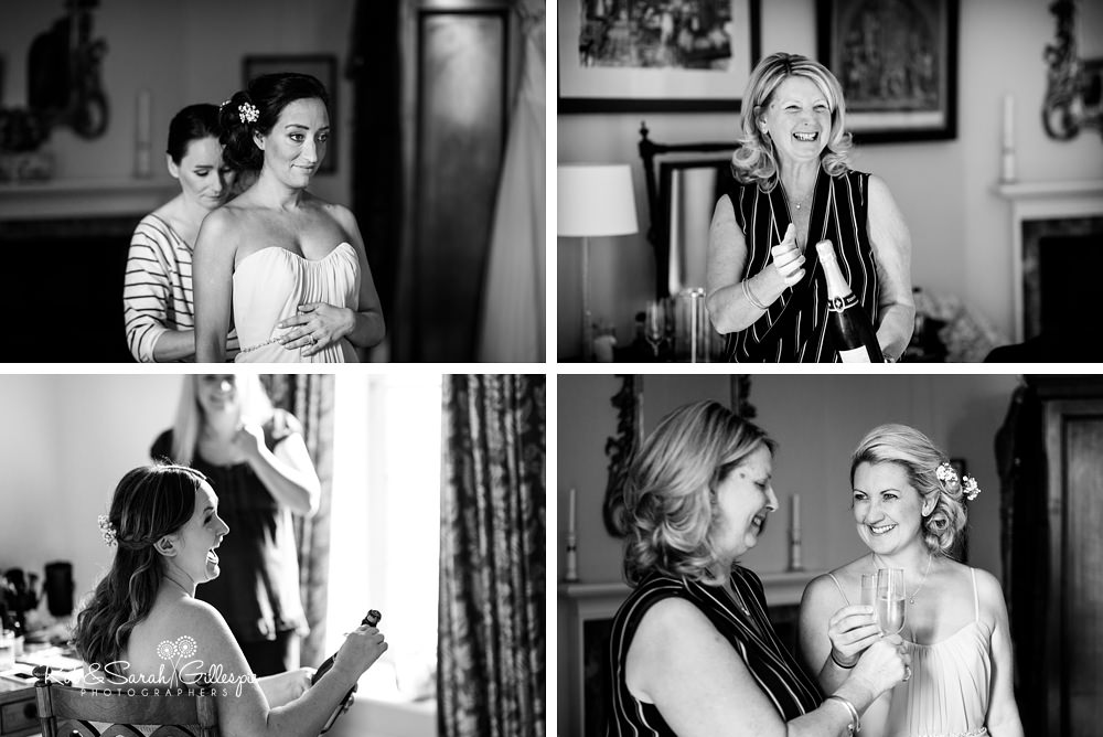 Bridesmaids getting ready for wedding at Eastnor Castle