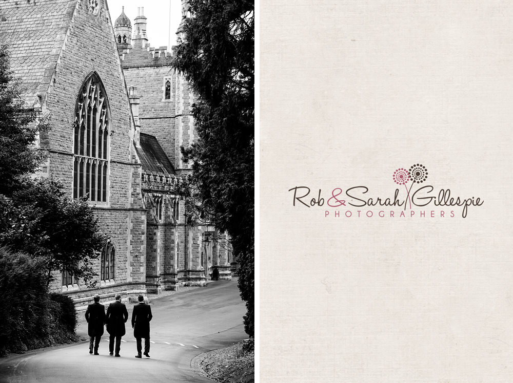 Groom and groomsmen walk to Malvern College for wedding