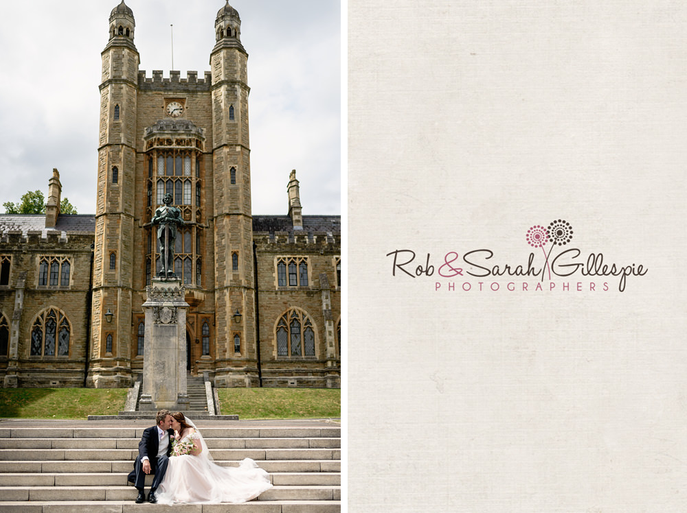 Bride and groom enjoy a moment together at Malvern College