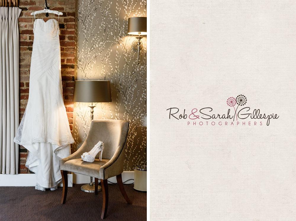 Wedding dress hanging up at Mythe Barn