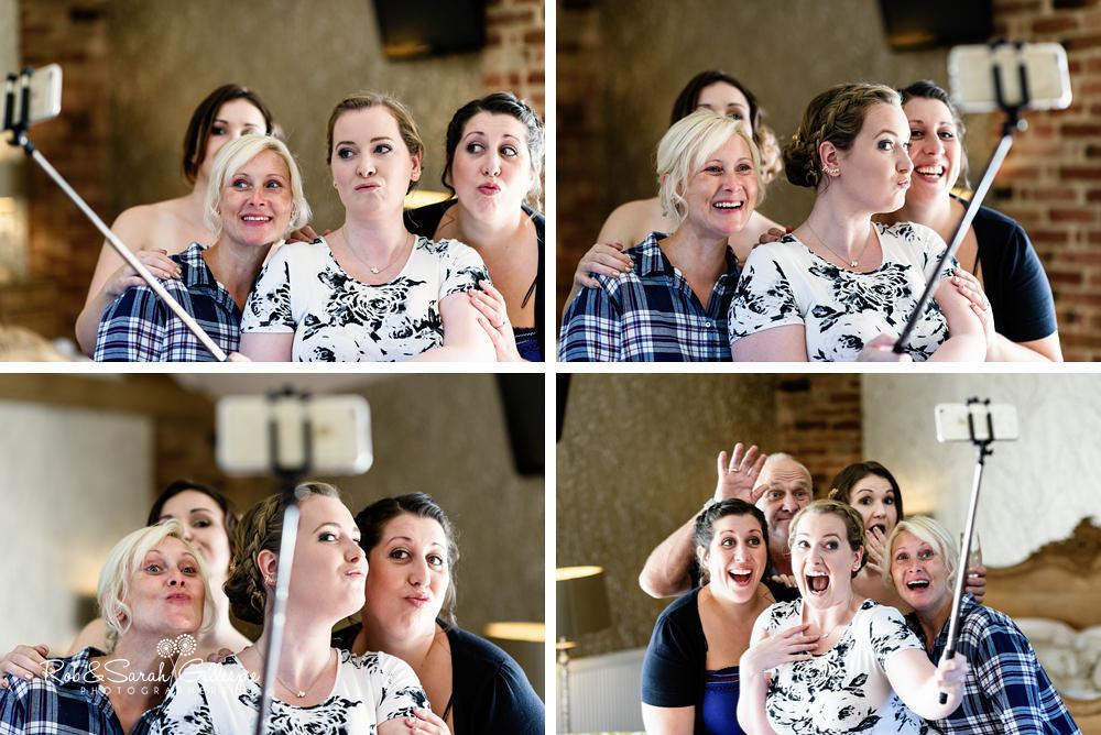 Bridesmaids pose for fun photo at Mythe Barn