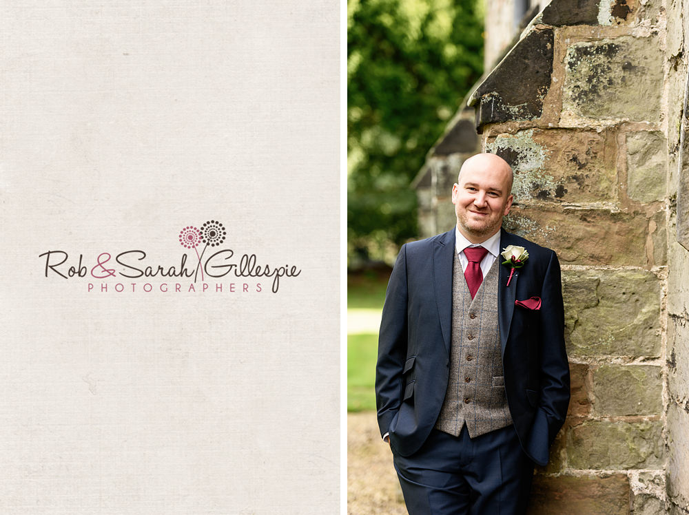Groom poses for portrait at All Saints church Grendon
