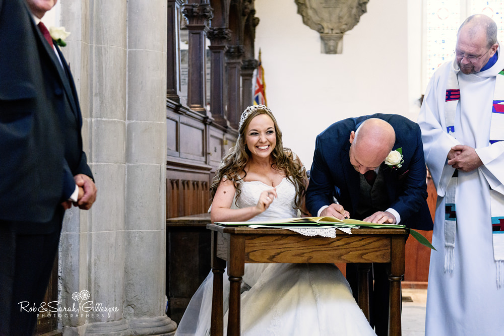 Wedding ceremony at All Saints church Grendon