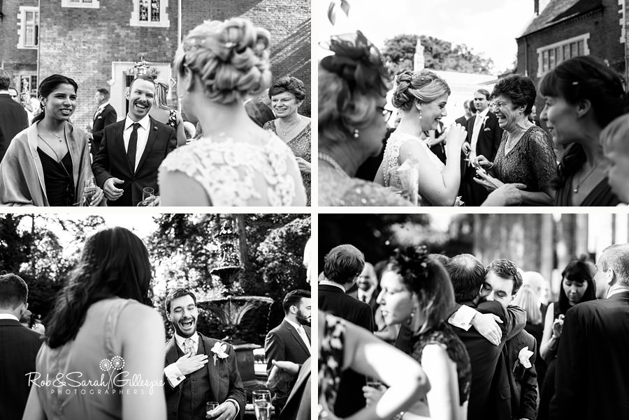 Pictures of wedding guests congratulating bride and groom