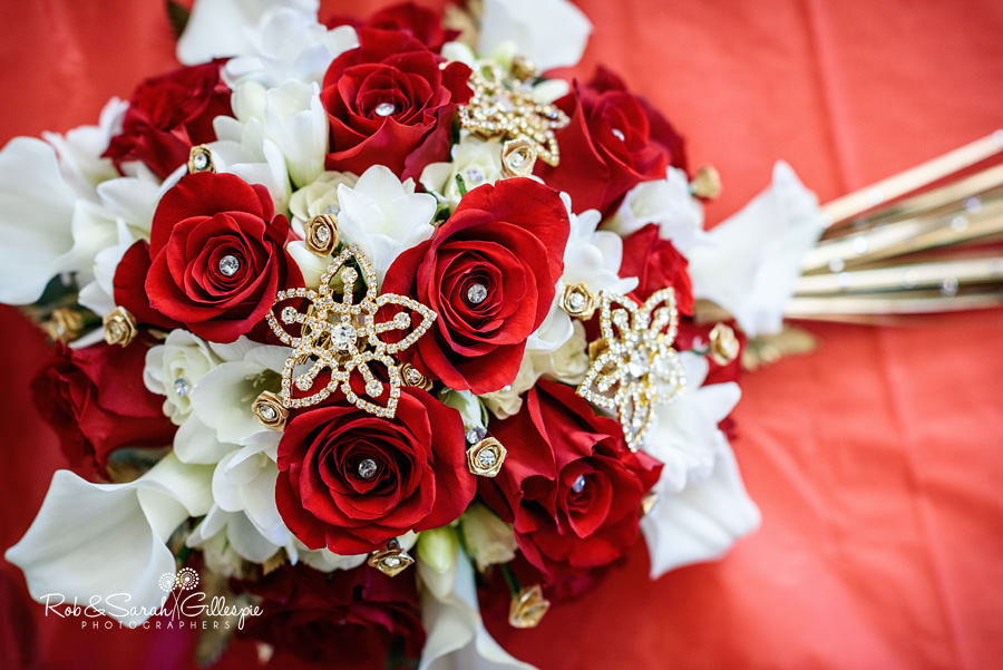 Red and white Indian wedding flowers